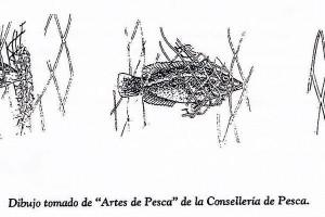 """Miños. Dibujo tomado de """"Artes de Pesca"""" de la Consellería de Pesca."""