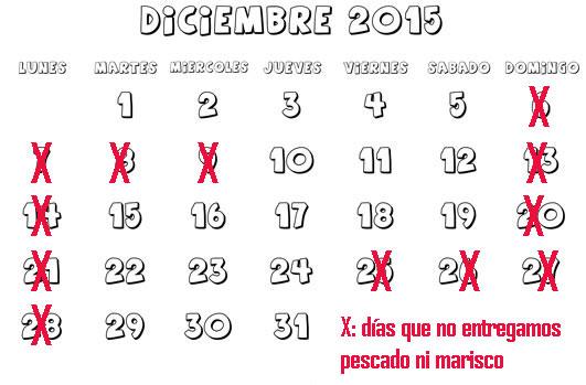 Calendario de entega mes de diciembre 2015