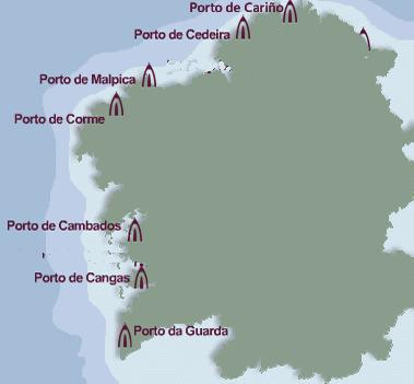 Mapa de localización de Rederas en Galicia