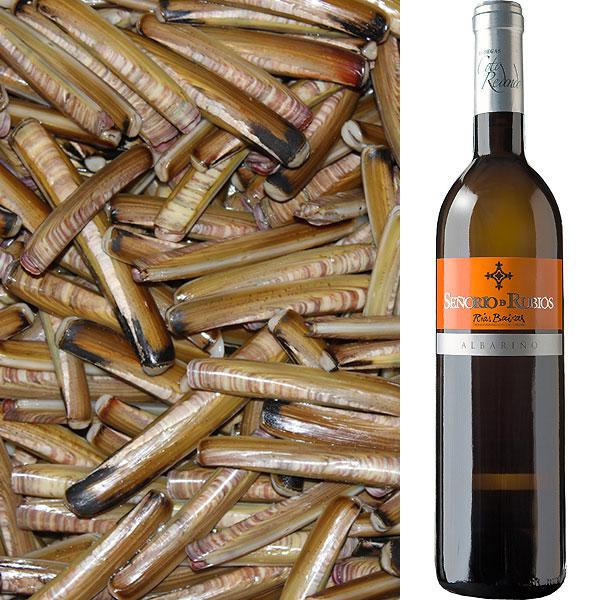 Nuevo lote de marisco gallego y vino albariiño, en este caso con navajas