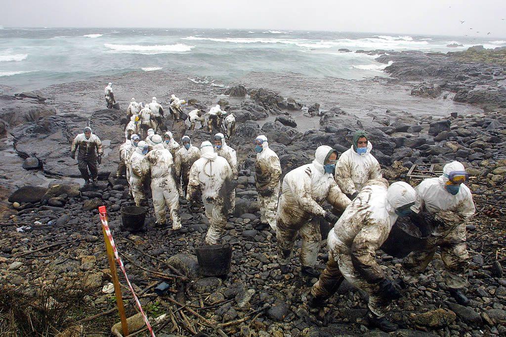 Voluntarios limpiando Playa de Ximprón en Lira - Foto: Alvaro Ballesteros (LA VOZ DE GALICIA)
