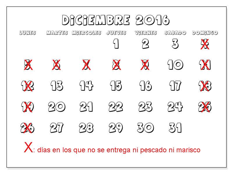 Calendario de entrega de 'marisco gallego' y 'pescado fresco' en Navidad