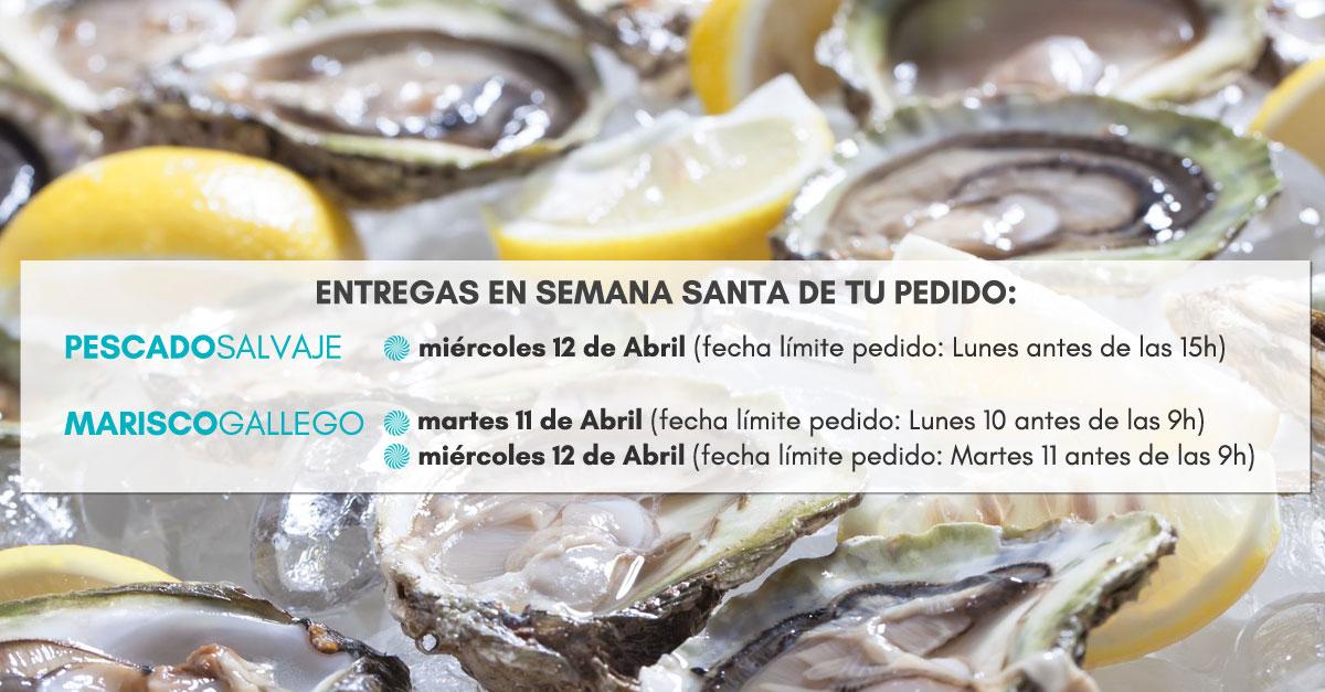 Días de entrega a domicilio de Marisco Gallego y Pescado Fresco en Semana Santa