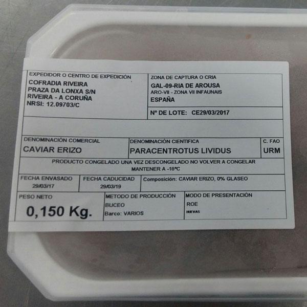 Tarrina de gónada de erizo de mar congelada que comercializa Fresco y del Mar