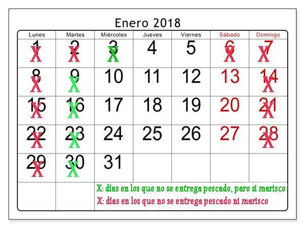 Calendario entrega de marisco gallego y pescado fresco enero 2018