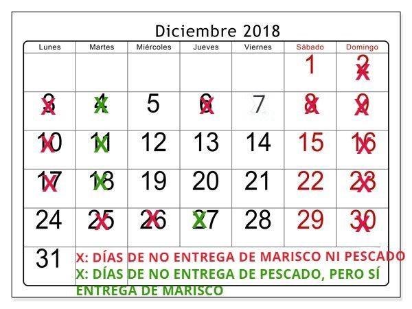 Calendario Diciembre.Pescado Y Marisco A Domicilio Esta Navidad Dias De Entrega