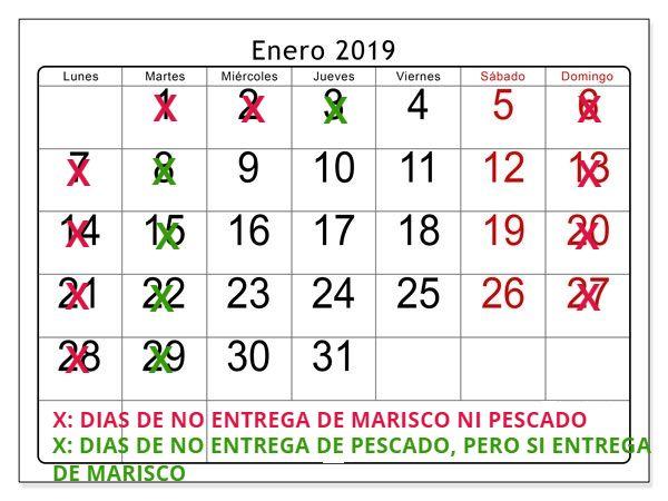 Calendario ene 2019 entregas de pescado y marisco a domicilio